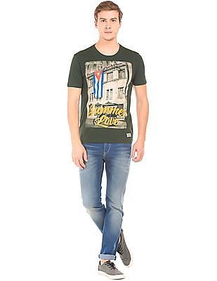 Flying Machine Graphic Print Cotton T-Shirt