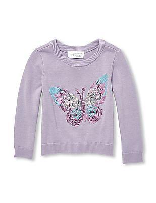 089e090f8 Buy Toddler Girl Toddler Girl Butterfly Sequin Knit Sweater online ...