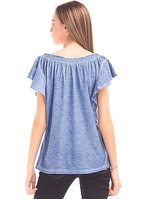 GAP Women Blue Smocked Flutter Sleeve Top