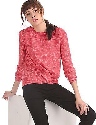 SUGR Pink Polka Dot Print Blouson Top
