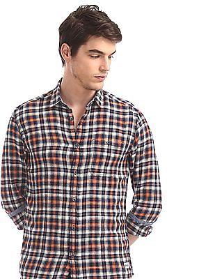 Flying Machine Orange Check Regular Fit Shirt