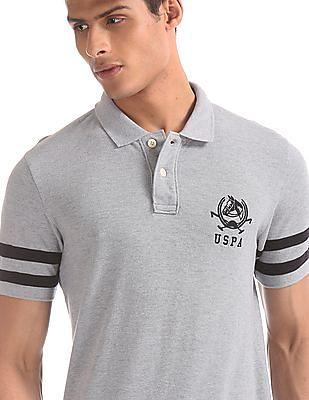 U.S. Polo Assn. Grey Heathered Pique Polo Shirt