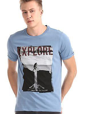 Cherokee Blue Upturned Sleeve Graphic T-Shirt