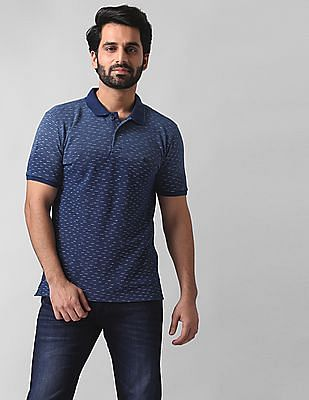 True Blue Slim Fit Printed Polo Shirt