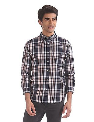 Aeropostale Navy And Pink Button Down Collar Check Shirt