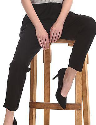 U.S. Polo Assn. Women Black Drawstring Waist Tencel Pants