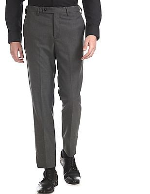Arrow Grey Autoflex Waist Patterned Trousers
