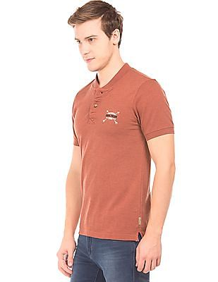 Flying Machine Stand Neck Heathered Polo Shirt