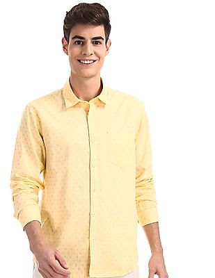 Ruggers Yellow Patch Pocket Printed Shirt