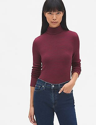 61becde5e6 Buy Women Ribbed Long Sleeve Modal Stripe Turtleneck Top online at ...