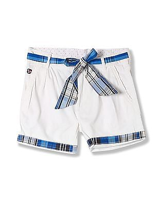 U.S. Polo Assn. Kids Girls Pleated Front Solid Shorts