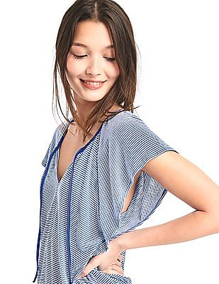 GAP Women Blue Stripe Drapey Flutter Sleeve Top