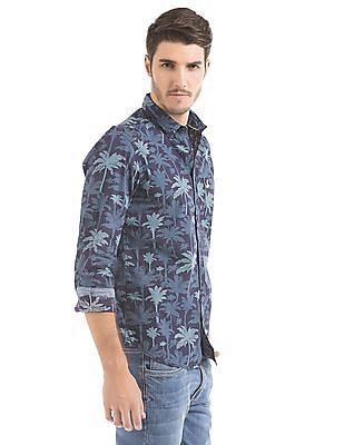 Bayisland Palm Tree Print Slim Fit Shirt