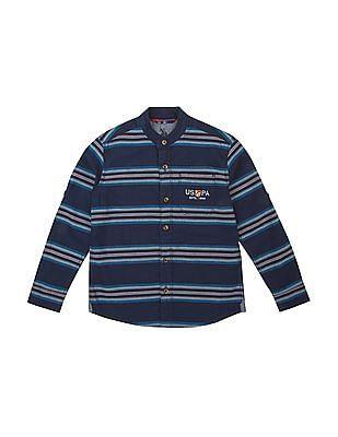 U.S. Polo Assn. Kids Boys Mandarin Collar Striped Shirt