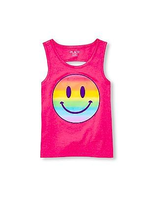 The Children's Place Girls Pink Matchables Sleeveless Embellished Graphic Back-Cutout Tank