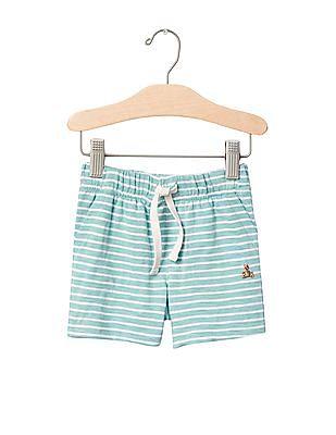 GAP Baby Green Stripe Slub Shorts