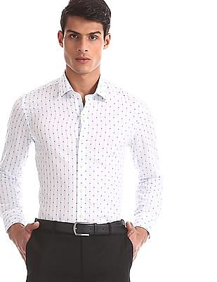 Arrow White Slim Fit Striped Shirt