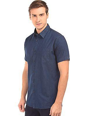 Arvind Kent Collar Printed Shirt