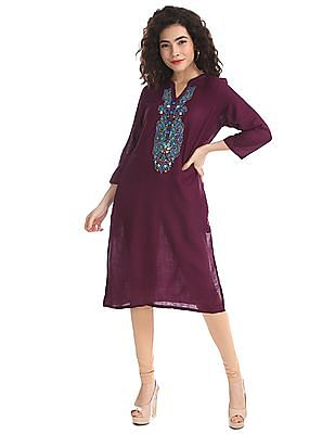 Karigari Purple Mandarin Collar Embroidered Kurta