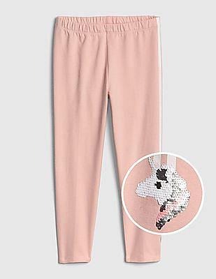 GAP Pink Girls Flippy Sequin Capri Leggings