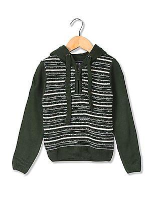 Cherokee Boys Hooded Patterned Knit Sweater