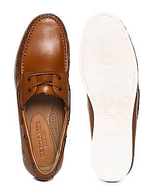 U.S. Polo Assn. Contrast Sole Leather Boat Shoes