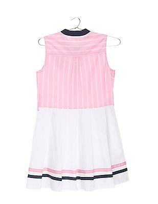 U.S. Polo Assn. Kids Girls Pleated Skater Dress