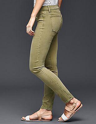 GAP Women Green Stretch 1969 True Skinny Jeans