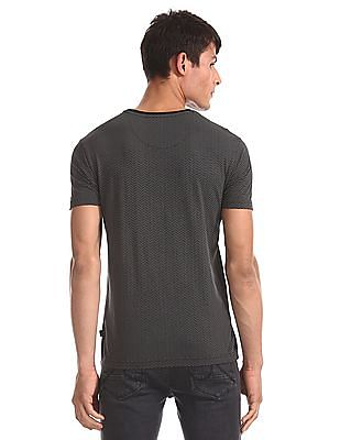 Flying Machine Grey Printed Cotton Jersey T-Shirt