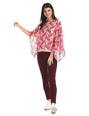 Cherokee Pink Floral Print Layered Top