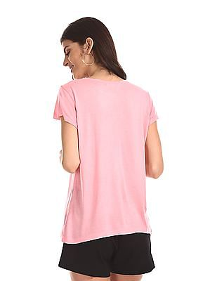 Cherokee Pink Round Neck Lace Accent Top