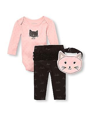 The Children's Place Baby Girls Long Sleeve Cat 'Meow' Bodysuit, Bib And Leggings 3-Piece Playwear Set