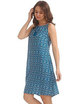 Bronz Printed Swing Dress