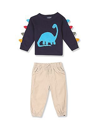 The Children's Place Assorted Baby Dino Sweater And Woven Joggers Set