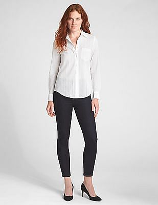 GAP Fitted Boyfriend Texture Stripe Shirt
