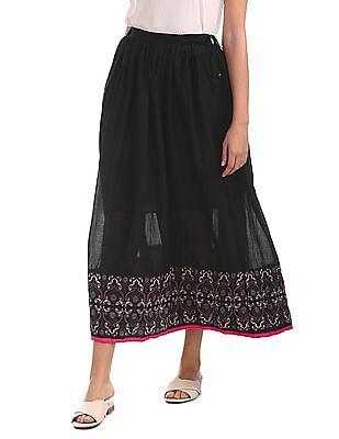 Bronz Floral Print Maxi Skirt