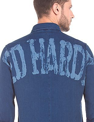 Ed Hardy Printed Back Slim Fit Shirt