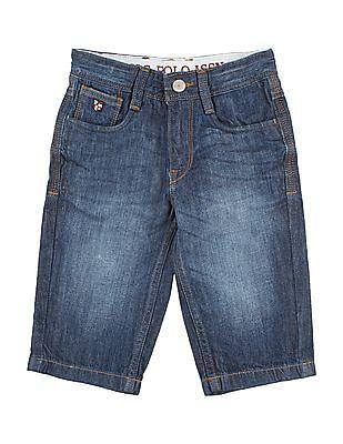 U.S. Polo Assn. Kids Boys Stone Wash Denim 3/4Th Shorts