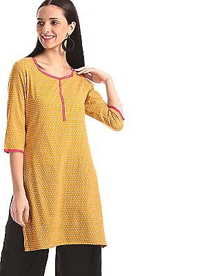 Karigari Yellow Printed Cotton Kurta
