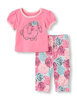 The Children's Place Baby Bunny Floral Set