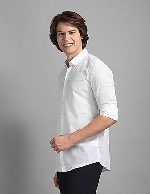 True Blue White French Placket Striped Shirt