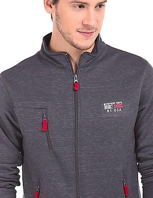 Newport Full Zip Ribbed Knit Sweatshirt