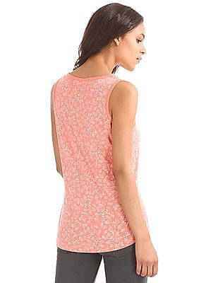 GAP Women Pink All Over Printed Tank