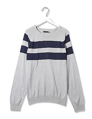 Flying Machine Striped Crew Neck Sweater