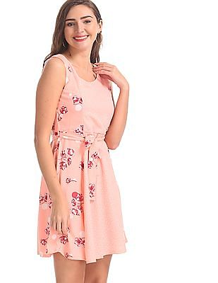 SUGR Pink Sleeveless Printed Fit And Flare Dress