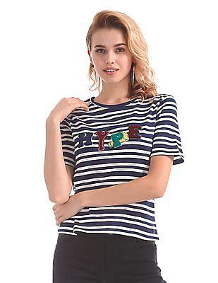SUGR Contrast Applique Striped T-Shirt