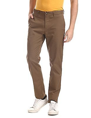 U.S. Polo Assn. Brown Denver Slim Fit Patterned Trousers