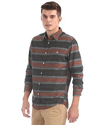 Aeropostale Spread Collar Striped Shirt