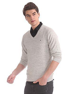 Arrow Grey V-Neck Patterned Sweater