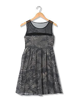 Flying Machine Women Sleeveless Printed Fit And Flare Dress
